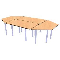 Trapez Dikdörtgen Masa Grubu Kayın