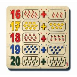 60080Sayılar ve kümeler 16-20 33x33cm Kulplu 25 parça Ahşap Puzzle